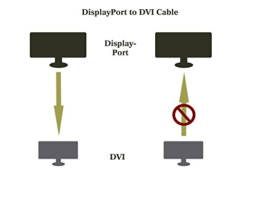 DisplayPort to DVI Adapter, Dp Display Port to DVI Converter Male to Male Gold-Plated Cord 6 Feet Black Cable for Lenovo, Dell, HP and other brand