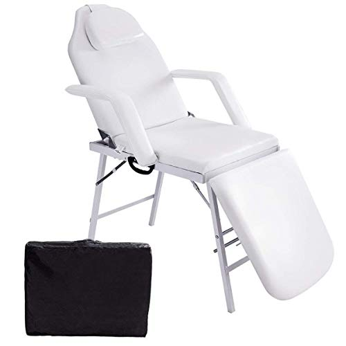 Giantex 73″ Portable massage TableTattoo Parlor Spa Salon Facial Bed Adjustable Footrest and Back Heavy Duty Steel Frame Beauty Chair White