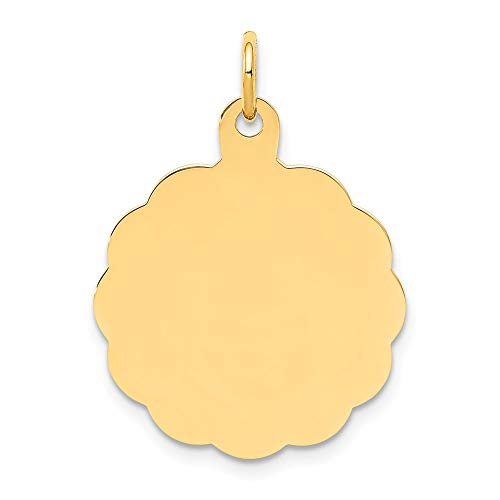 Scalloped Disc Charm - 14k .013 Gauge Engravable Scalloped Disc Charm, 14 kt Yellow Gold