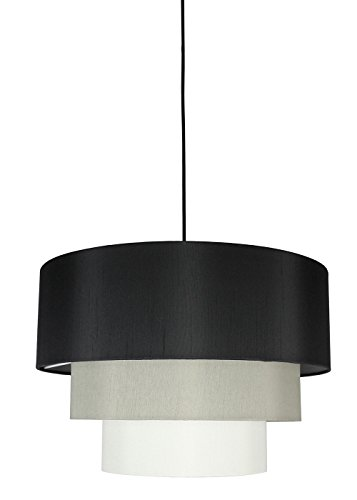 Urbanest Renzo 3-Tier Shade Pendant with Hanging Light Kit, Black, Moss Gray, and Eggshell Silk, 18-inch Diameter, 12-inch Height ()