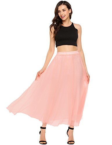 Shine Womens High Elastic Waist Ankle/Full Length Pleated Vintage Retro Chiffon Maxi (Womens A-line No Pleat Skirt)