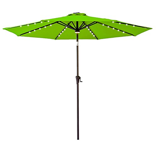 (FLAME&SHADE 9 foot LED Lights Outdoor Market Patio Umbrella with Crank Lift, Push Button Tilt, Apple Green)