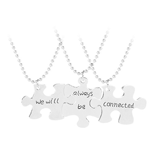 Latigerf We Will Always be Connected Engraved Pendant Necklace Set 3 BFF Friendship Best Friend