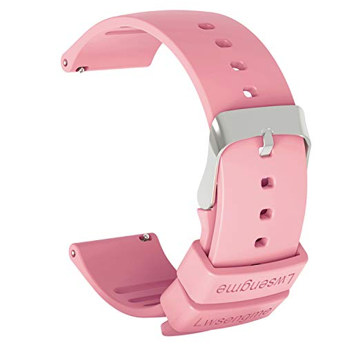 Lwsengme Silicone Watch Replacement Band with Quick Release-Choose Color & Width (20mm,22mm) & Length-Soft Rubber Watch Strap (Pink, 22mm)