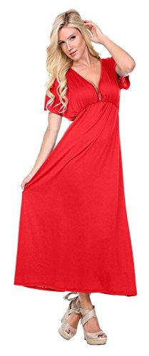 Stanzino Women's V neck Short Sleeve Elastic Waist Maxi Dress – Small, Red