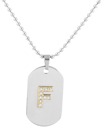 2 Pieces of Stainless Steel Silvertone with Goldtone Iced Out Letter F Initial Dog Tag Pendant with a 24 Inch Ball Necklace