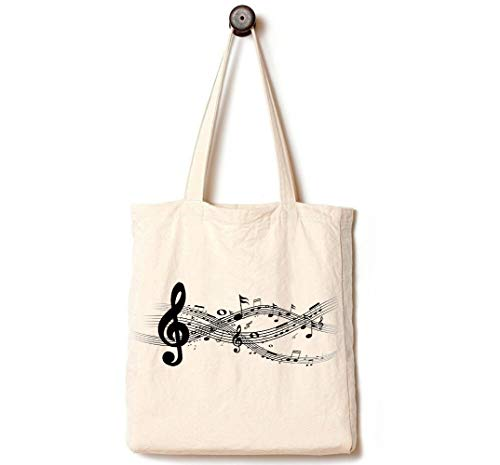 Andes Heavy Duty Canvas Tote Bag, Handmade from 12-ounce Pure Cotton, Perfect for Shopping, Laptop, Music School Books, The Melody