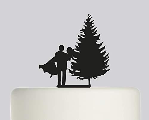 Wedding Cake Topper - Bride And Groom Christmas Tree Winter Wedding Day - Acrylic Cake Topper