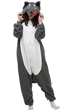 DATO Unisex Animal Pyjamas Cosplay Onesie Wolf Adult Nightwear