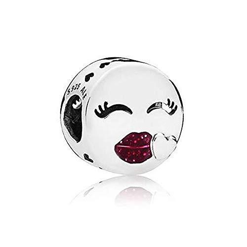 Romántico Amor Lovely Kiss Glitter Cerise Enamel Charm 925 Sterling Sliver Beads for Pandora Bracelet