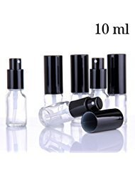 Small Clear Glass Spray Bottles for Aromatherapy Essential Oils - Refillable 0.35 oz Fine Mist Sprayers with black Tops, 6 PACK Set