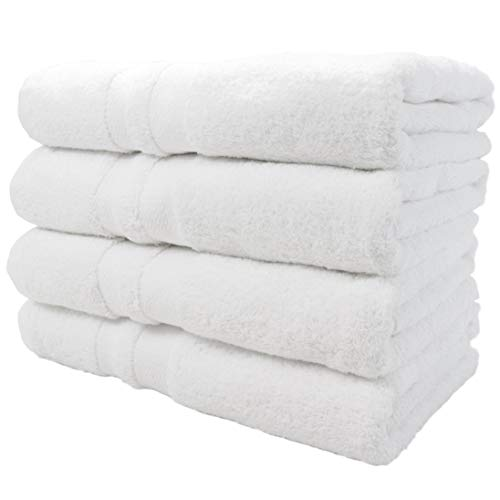 Magellan Luxury Hotel Heavy White Towels (680 GSM) | 4 Bath Towels | 100% Ring Spun Cotton | 27x54 | Chemical Free | by Arkwright LLC