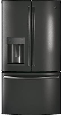 GE GFD28GBLTS 36 Inch French Door Refrigerator with 27.8 cu. ft. Total Capacity, 5 Glass Shelves, 9.2 cu. ft. Freezer Capacity, in Black Stainless Steel