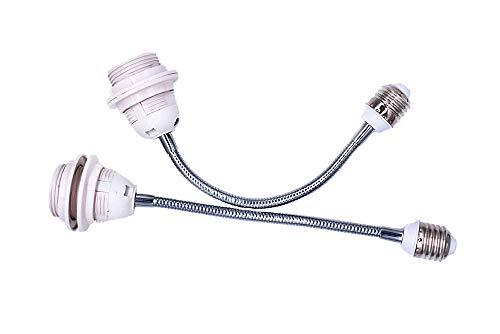 (2-Pack) E26/E27 Socket Extender Adapter, E26/E27 Flexible Extension, All-Directional Adjustable Standard Medium Light Socket Converter 360 Degree Bendable white