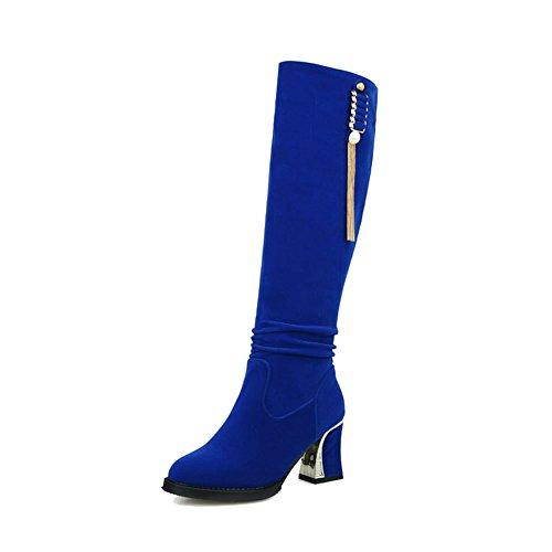 Tassels Party Heel Charms Pendant Beaded Womens Sexy Carolbar Dress Chic Blue Tall High Boots gYnIqEC