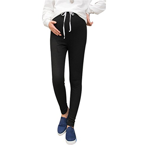 Zhhlinyuan Maternidad Pregnant Women Casual Slim Legging High Waist Stretch Pencil Pants Pregnancy Trousers Black