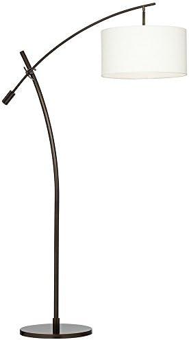 Modern Arc Floor Lamp Bronze Off White Linen Drum Shade Adjustable