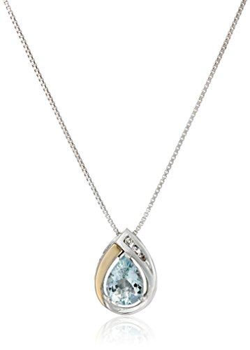 Amazon Collection Sterling Silver and 14k Yellow Gold Aquamarine and Diamond-Accent Tear Drop Pendant Necklace, 18