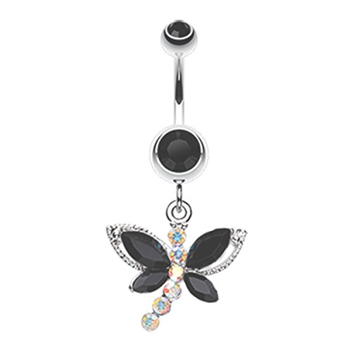 - Butterfly Dragonfly Glam Belly Button Ring 316L Surgical Steel Size 14GA 3/8