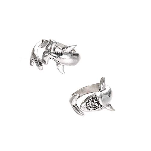 Acamifashion 2Pcs/Set Vintage Adjustable Alloy Shark Open Rings Unisex Party Jewelry Gift - Silver -