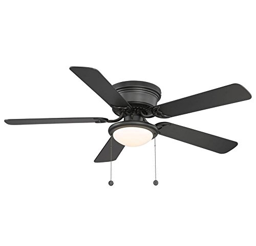 Hugger Low-Profile Flush Mount 52 In. Black Ceiling Fan With Frosted Glass (Minka Wood Antique Ceiling Fan)