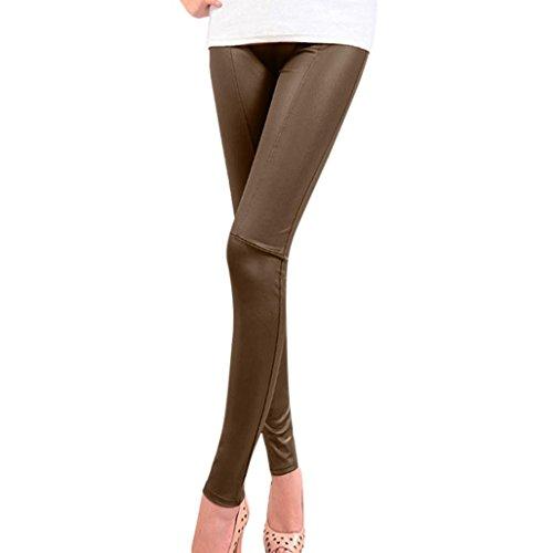 OHQ Mme Leggings DContractS en Cuir De Couleur Unie Pantalons Extensibles Femmes Pantalons Skinny Taille Haute Patchwork Leggings Kaki