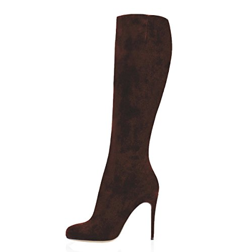 Dark Stiletto Winter Toe VOCOSI Boots and Combat for Boots Pointed High Suede Knee faux Women's Autumn Brown 7xwO0qHS