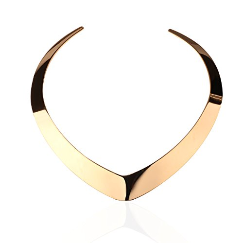 Carfeny 14K Gold Plated Choker Necklaces for Women,Love Heart Shaped End Open Adjustable Statement -