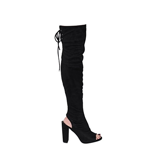 Open Toe Delicious Heel Open Back The Black Suede Block Knee Faux Stretchy Chunky Over Boot Women's yqXFXCwY