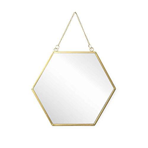 Espejo pared de pared decorativo hexagonal Mirror, metalico, estilo etnico & boho chic, nordico, bonito y moderno, ligero, para pasillo bano o entrada, metal, color dorado, 26x30x1 cm
