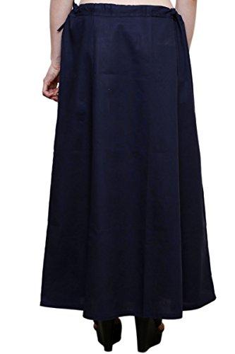 Readymade de algodón de las mujeres indio inskirt Saree petticoats enaguas–talla única azul marino