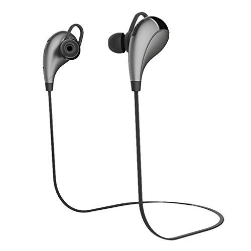 (Sacow Bluetooth Earphone,Hanging Neck Bluetooth Sports Earphone Metal Ear Shell Super Good Sound Quality (Gray))