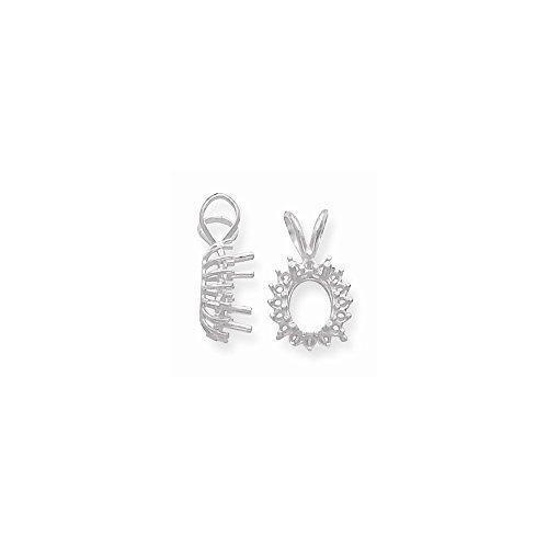 Setting Cluster Pendant Oval - FB Jewels 14K White Gold Oval Cluster 9 x 7mm Pendant Setting