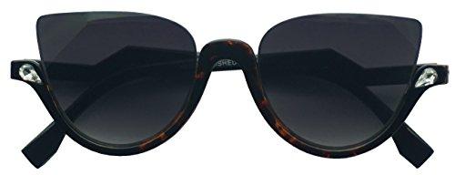 - Vintage Half Frame Rhinestone Studded MOD CatEye Clear Sun Glasses (Tortoise, Black)