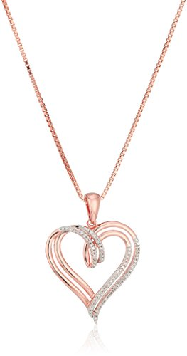 - 14k Rose Gold over Sterling Silver Diamond Double Heart Pendant Necklace (1/10 cttw),18