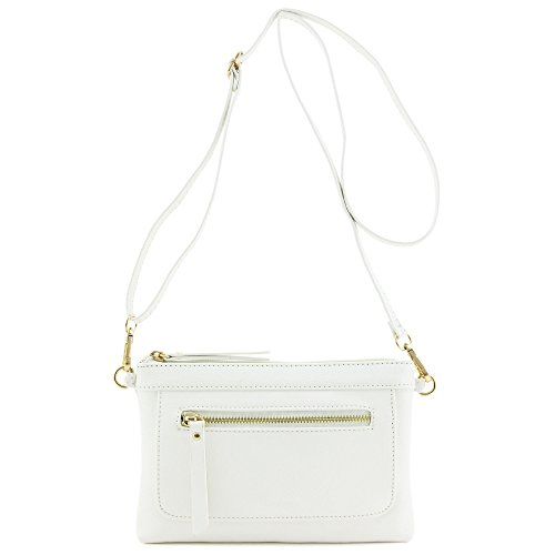 Faux Leather Clutch - Multi-functional Wristlet Clutch and Crossbody Bag White