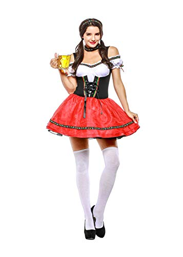 (Hanbintod Women's German Dirndl Dress Serving Wench Bavarian Oktoberfest Beer Girl Adult)