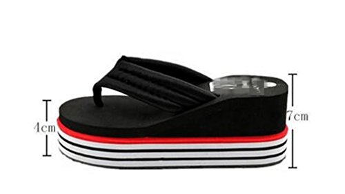 Boowhol Heel Flops Thick Black amp; skid Slope Anti Slippers Soft Bottom Ladies Various Flip Styles Sandals Fashion TPR Colours Personality rwq6rXgA