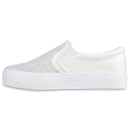 cfabb547219885 Stiefelparadies Damen Sneaker Slip Ons mit Plateau Glitzer Flandell 40  EURot Muster - sommerprogramme.de
