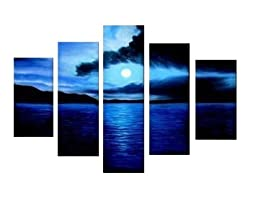 Santin Art - 100% Hand-painted Free Shipping Wood Framed on the Back Artwork Dark Blue Ocean White Sun High Q. Wall Decor Landscape Oil Paintings on Canvas 5pcs/set
