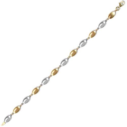 Jewelco Londres dames 9K or jaune et blanc cailloux ovales 6mm bracelet de jauge