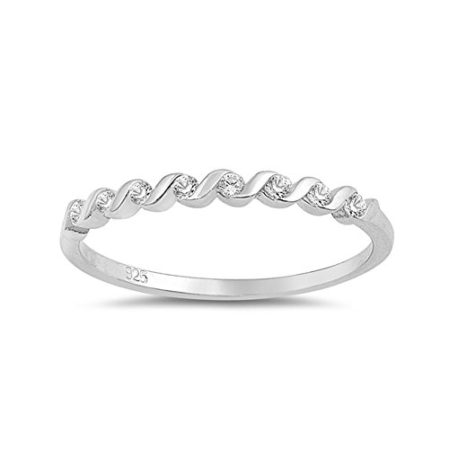 Precious Gem Jewellers .925 Sterling Silver Spiral Cubic Zirconia Stackable Ring ()