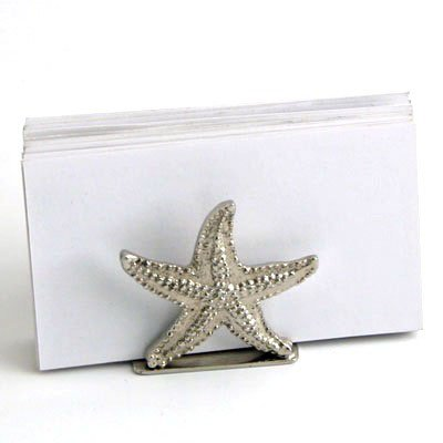 Nickel Starfish Card Holder. Business Card Stand. - Set of 4