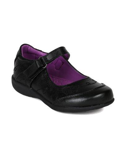 School Rider AI90 Leatherette Butterfly Mary Jane Velcro Strap School Uniform Shoes (Toddler/ Little Girl/ Big Girl) - Black