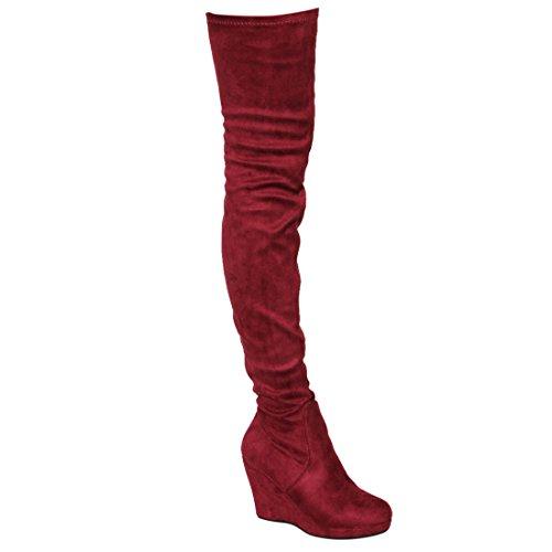 Beston EJ07 Women's Stretchy Snug Fit Thigh High Platform Wedge Heel Boots get discount