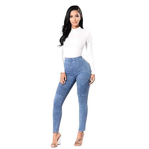 Grossa Jeans leggings Slim Vita meibax Strappati Fitness Elasticizzati pantaloni Pantaloni Alta Donna Azzurro skinny taglia Magri Di pantaloni Stretch Denim A Pants slim Ex0qxT4n1