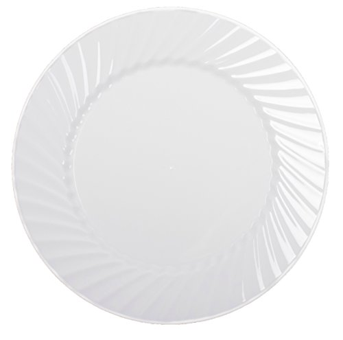 "Zappy Disposable Plastic Plates, Dinner Plates Buffet Plates Premium Quality White Dinner Plates Hard Plastic Plates Party Plates Wedding Plates Swirl Design (9"" Dinner Plate 50 Ct)"