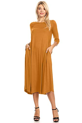 Women's Solid Mid Casual Length Pocket Loose Dress Hdr00072 Mustard Lightweight 1w47WPqw