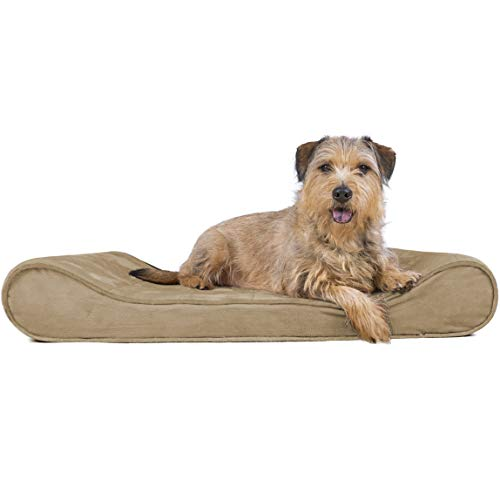 FurHaven Pet Dog Bed | Orthopedic Microvelvet Luxe Lounger Pet Bed for Dogs & Cats, Clay, Large