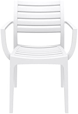 Compamia Artemis Outdoor Patio Dining Arm Chair in White, Commercial Grade